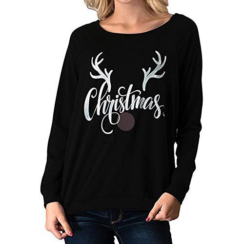 (SEWORLD Frohe Weihnachten Kapuzenpulli Damen Mode Frauen Frohe Weihnachten Brief Weihnachten Elk Head Gedruckt Bluse Mode T-Shirt(Schwarz,EU-42/CN-XL))
