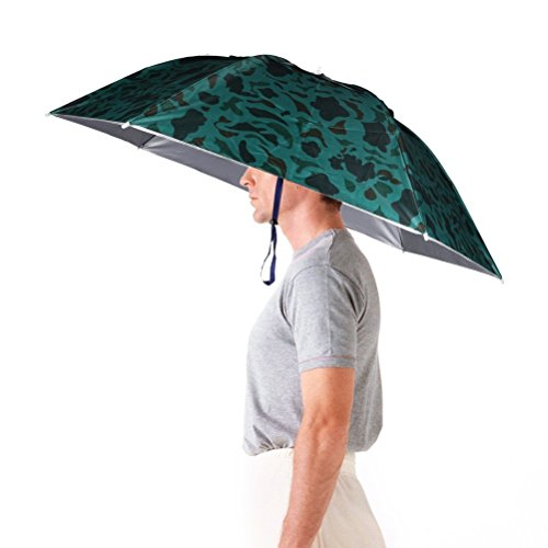 LWT Faltbarer Regenschirm-Haut 91,4cm im Durchmesser, verstellbare Kopfbedeckung, Hände frei fürs Angeln, Gartenarbeit, Fotografieren, Wandern, Herren, camouflage
