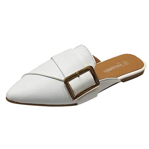 iHAZA Damen Lässige Weiche Hausschuhe Mode spitze Zehe Flache Ferse Slipper Single Schuhe