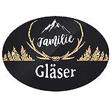 Eurofoto Türschild mit Namen Familie Gläser und rustikalem Motiv mit Geweih | für den Innenbereich | Klingelschild mit Nachnamen
