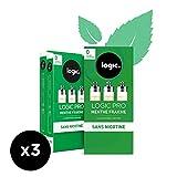 Logic Pro - Goût Menthe Fraîche - 3 Packs de 3 cartouches d'e-liquide – Sans Nicotine Ni Tabac – Utilisation exclusive avec la Cigarette Electronique Logic Pro (vendue séparément)