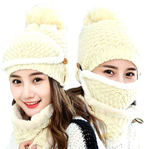YUELANG 1 Satz Unisex Multifunktions Winter Warme Samt Gefüttert Stricken Slouchy Mund Masken + Hüte + Kragen Schal Set (Color : Beige)