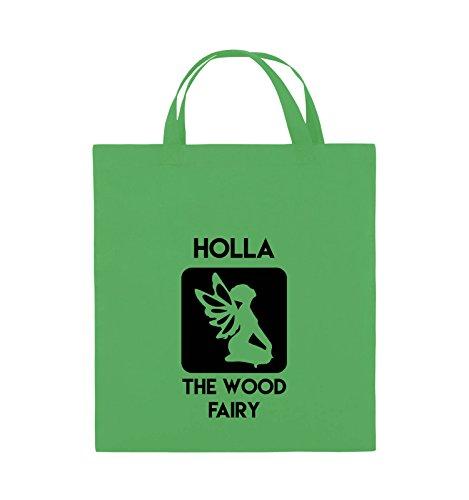 Comedy Bags - HOLLA THE WOOD FAIRY - Jutebeutel - kurze Henkel - 38x42cm - Farbe: Schwarz / Pink Grün / Schwarz