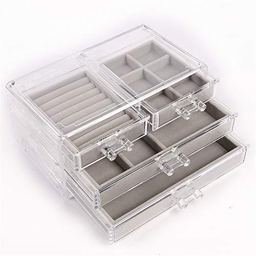 ZYC Schmuck Aufbewahrungsbox mit Schmuckablage in großen Make-up-Organizer kann Schmuck Ring Halskette Schmuckschatulle setzen
