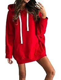 36e5414b283d Simple-Fashion Primavera e Autunno Donne Lungo Felpe con Cappuccio Vestito  Giovane Moda Sweatshirt Mini Vestiti…