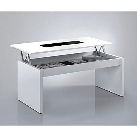 Habitdesign (0T1638BO) - Mesa de centro elevable , acabado blanco brillo y cristal negro , dimensiones 100 cm largo x 50 cm ancho x 43/52 cm