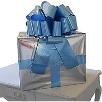 Lazo megagigante para coche de 40cm y 6m de cinta para coches, bicicletas, fiestas y regalos de cumpleaños, en color azul holográfico