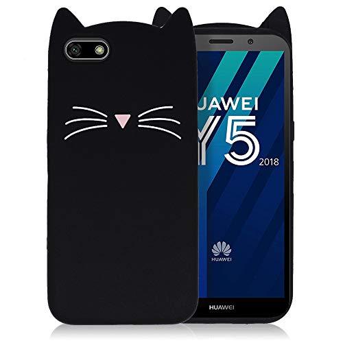 Ash-case Hülle für Huawei Y5 2018-3D Silikon Backcover Case Handy Schutzhülle - Cover klar Katze Design Schwarz Weiß + 1X Screen Protector