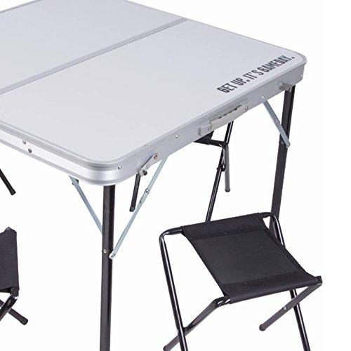 Tavolo Da Campeggio Richiudibile.Tavolo Tavolino Pieghevole 80x80cm In Alluminio Con 4 Sedie Sgabelli