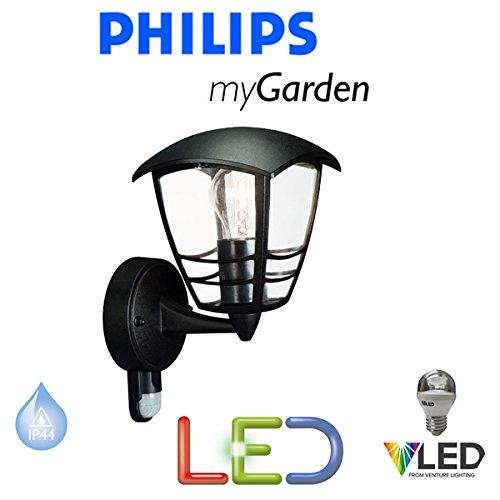 Philips Massive Mon Jardin d'éclairage LED Creek 5.9 W Noir mur jusqu'Lanterne Lumière – LED – Lampe Extérieur Lumière – économie d'énergie – Design Moderne – Sts