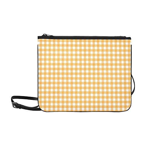 WYYWCY Niedliche orange Gittermuster Benutzerdefinierte hochwertige Nylon dünne Clutch-Tasche Umhängetasche Umhängetasche