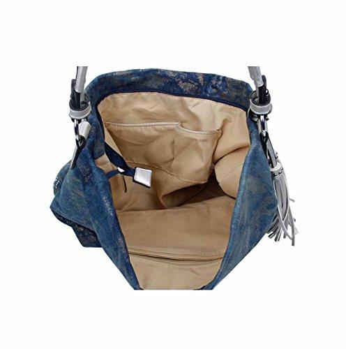 OBC design italiano XXL donna Stella Borsetta Tela Cotone In strass Oro-argento Bowling Borsa marsupio Hobo-Bag Manico Shopper CrossOver - blu scuro 48x30x17 cm, ca 48x30x17 cm ( BxHxT ) Nero V1