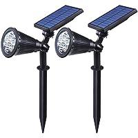 Focos Solares Exterior, Luposwiten 7 LED Luces Solares Led Exterior, 180 Grados de Panel Solar Ajustable, 2 en 1 modo de Luz Constante y Encendido, Lamparas Solares Exterior para Jardins -2 Paquetes