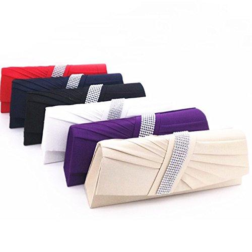 Frauen Plissee Kristall Verzierten Satin-Handtaschen-Abend-Hand Multicolor Beige