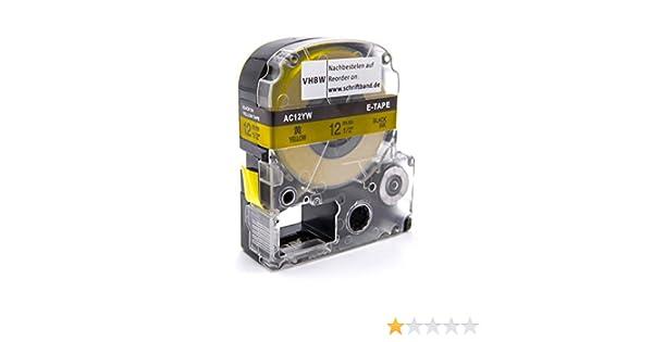 vhbw Kassette Patronen Schriftband 12mm blau f/ür Epson LabelWorks LW-300 LW-400 SC12BW. LW-900P wie LC-4LBP LW-500