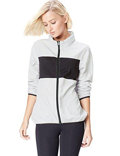 Activewear Jacke Damen Windbreaker, mit versteckbarer Kapuze, Colour Blocking, Mesh, Grau (Silver Grey/Black), 38 (Herstellergröße: Medium) -