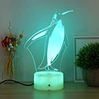 Mobestech Penguin Night Lights Remote Control 3D Optical Illusion Table Lamp Colors Changing 3D Lamp for Bedroom Decor Childrens Day Birthday Gifts