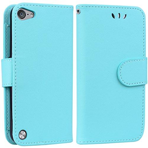 Yunbaoz iPod Touch 5/6 Lederhülle Rein Farbe Wallet Case Hülle Grün (Für Case 4 Männer Ipod Wallet)