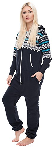 Loomiloo Jumpsuit Freizeitanzug Overall Hausanzug Einteiler Strampler Anzug Pyjama Aztec Aztek Dunkelblau