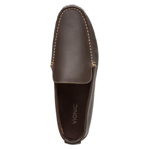 Vionic Mens Parker Orthotic Slip On Moc Toe Loafer Shoes (8 D(M) US, BLACK) Chocolate