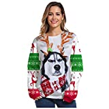 Pullover Männer Frauen Paar Hoodies Weihnachten Elk Husky 3D Gedruckten Kapuzenpulli Langarm...