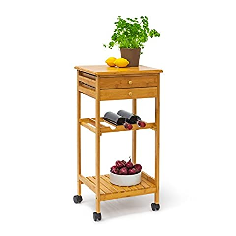 Relaxdays JAMES Kitchen Cart, Bamboo Kitchen Island Trolley with 2 Drawers and Shelf Wheeled Kitchen Trolley Wooden with Plate Rack and Wine Bottle Shelf, 80 x 40 x 37 cm, Natural