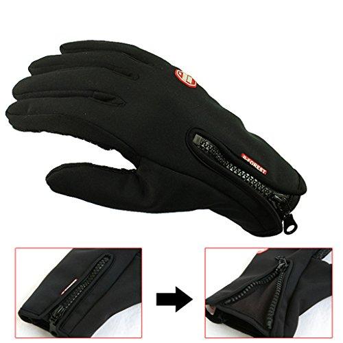 iCreat Touchscreen Handschuhe Damen / Herren Warme Fahrradhandschuhe Winddicht Wasserdicht Herbst Winter Schwarz, Größe M - 5