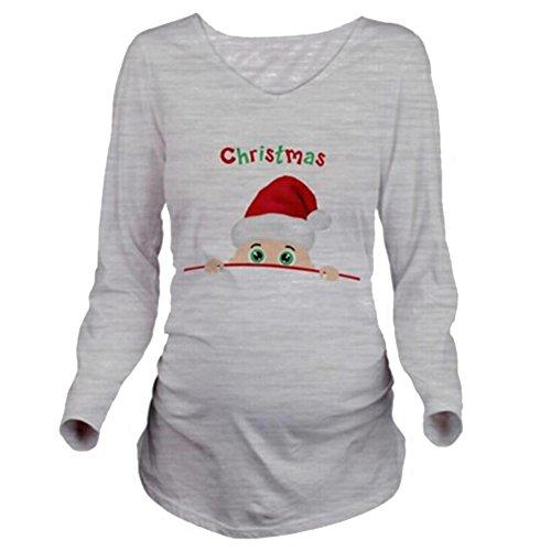 Gagacity Schwanger Christmas Lustiges Witziges Süßes Umstandsshirt mit Guck-Guck Motiv für Die Schwangerschaft/Umstandsmode/Schwangerschaftsshirt, Langarm