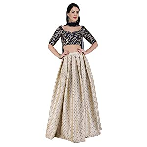 Amaira Navy Blue and Beige Embroidered Lehenga Set In Raw Silk