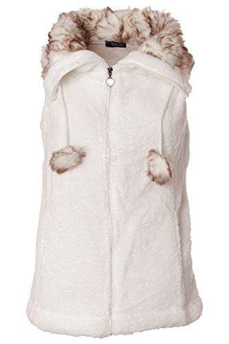 Fellweste Fleece mit Fellkragen & Bommeln Weiß