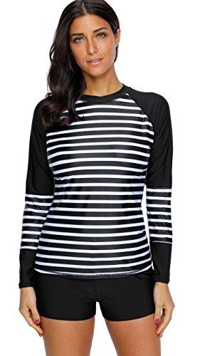 Attraco Damen Bademode Rash Guard Streifen UV-Schutz Langarm Shirt Badeanzug Oberteil UPF 50+ Schwarz XL