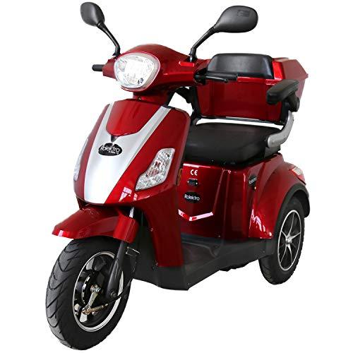 Rolektro E-Trike-15 Rot Dreirad Elektroroller 500W 15 Km/H RW 60KM Stockhalter Koffer Rückwärtsgang USB EU-Zulassung