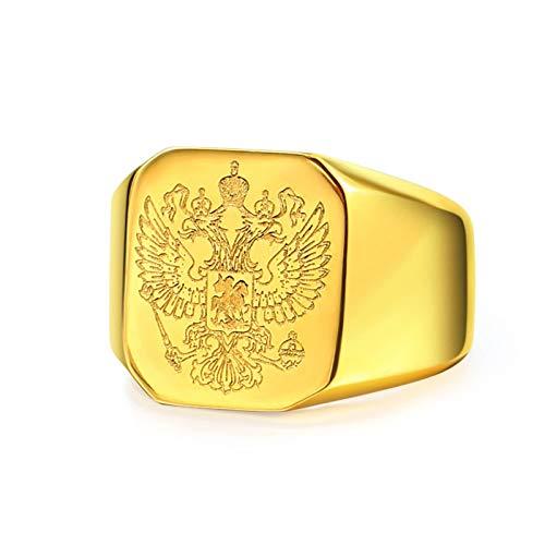 Bishilin Edelstahl Herren Ring Edelstahlring Adler Rechteck Freundschaftsring Gold Ring Größe 54 (17.2)