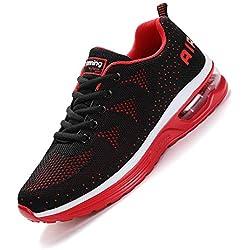 smarten Hommes Femme Basket Mode Chaussures de Sports Course Sneakers Fitness Outdoor Run Shoes Running Respirantes Athlétique Multicolore Respirante Black Red 40EU