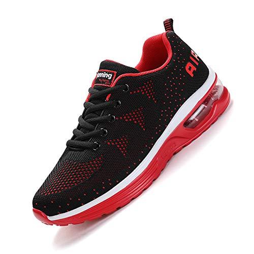 smarten Hommes Femme Basket Mode Chaussures de Sports Course Sneakers Fitness Outdoor Run Shoes Running Respirantes Athlétique Multicolore Respirante Black Red 41EU