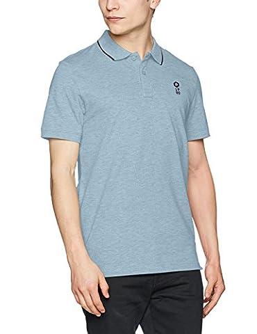JACK & JONES Jcostone Polo Ss Noos - Polo - coupe droite - Uni - Col Polo - Manches Courtes - Homme - Bleu (Faded Denim Fit:reg Melange) - X-Large (Taille fabricant: X-Large )