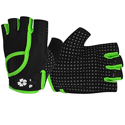 Y-WEIFENG Gym Body Building Training Sport Fitness Weightlifting Guanti per Le Donne Running Hiking Exercise Ciclismo Yoga Glove (Coppia) (Color : Green, Size : L/m)
