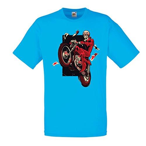 Männer T-Shirt Motorradbekleidung - Motorradfahrer T-shirt, Motorradzubehör - Vintage/Retro Design (Biker T-shirt) (Medium Blau (Biker Kinder Girl Kostüm)