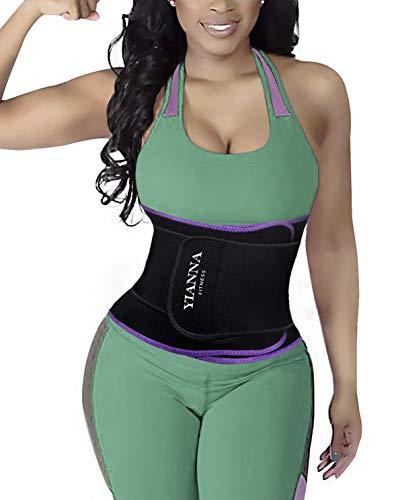 YIANNA Abnehmen Bauchweggürtel 12 Stahlknochen Verstellbarer Sport Korset Slimming Belt für Herren und Damen,UK-YA8010-Purple-L