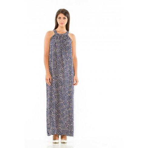 Princesse boutique - Robe longue bleue imprimée Bleu
