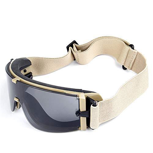 Radfahren Sonnenbrille US Militär Brille mit Feldexplosion Shock Brille zum Fahren Motorrad Brille Leicht Mehrfach verwendbar beige