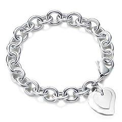 Idea Regalo - KOLA Braccialetto con pendente charm a cuore doppio, placcato in argento Sterling 925, chiusura a moschettone