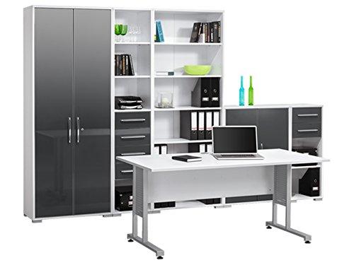 "Büro-Set Komplett-Set Büroprogramm Bürokombination Büroeinrichtung ""Gerit I"" Icy-weiß - grau Hochglanz"
