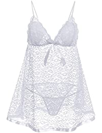 Avidlove Femme Nuisette Sexy Bretelle Transparent Robe de Nuit Pyjama Dentelle Florale String 2PCS