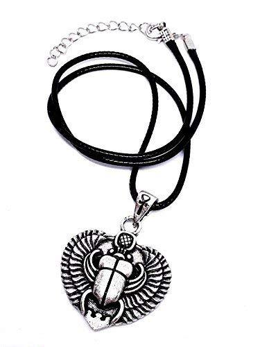 Eclectic Shop Uk Egipcio Alado Escarabajo Escarabajo Colgante Ankh eslabones en cordón