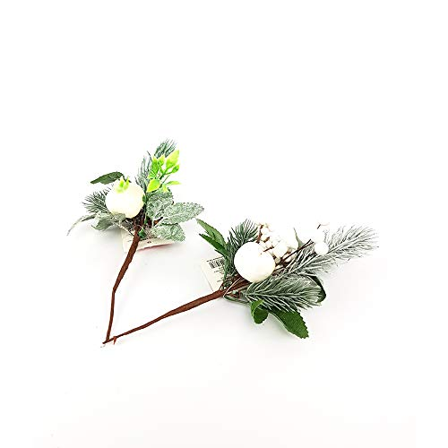 General trade rametto abete artificiale con decorazioni bianche pigne fiore artificiale natalizio decorazioni addobbi per albero di natale composizione natalizia ornamento casa natale