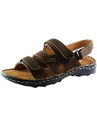 Kinsu Men's Dark Tan Leather Sandal 505