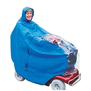 Kozee Komforts Waterproof Mobility Scooter Cape With See Through Panel, Weatherproof Universal Fit Poncho For 3 and 4 Wheel Scooters, Covers Scooter and Rider