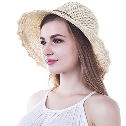VBIGER Sonnenhut Damen Faltbarer Strohhut Damen Strandhut Damen mit schöner Schleife …