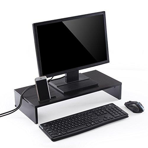Ttap, supporto nero in legno per monitor singolo, ripiano per computer portatile, tv, display, organiser da scrivania, lunghezza 54 x profondità 25,5x altezza 10,4cm